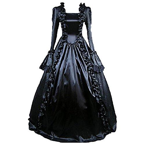 Partiss Damen Gothic Langarm Vintage Bodenlangen Ballkleider Lolita Kleider,L,Black