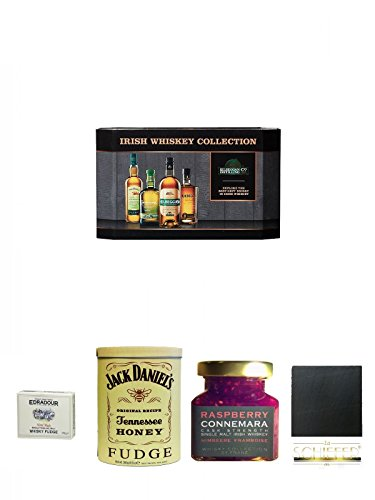 Cooley Collection neues Design Irish Whisky Mini 4 x 5cl + Edradour Malt Whisky Fudge 170 Gramm GP + Jack Daniels - HONEY - Fudge 300 Gramm + Connemara Irish Whisky Himbeer Marmelade 150g im Glas + Schiefer Glasuntersetzer eckig ca. 9,5 cm Durchmesser
