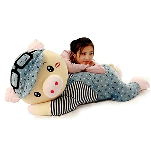 Juguete Almohada muñeco de Cerdo Lindo Peluche niña Grande Almohada durmiendo muñeca Regalo de cumpleaños Infantil Material Muy Saludable y Seguro cojín (Color : Blue, Size : Height 85cm)
