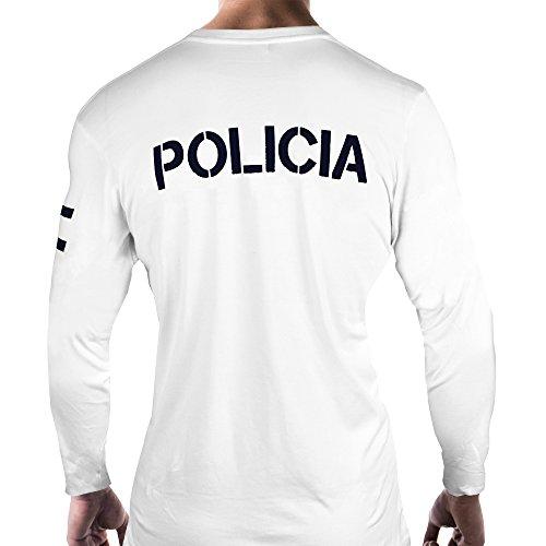 Aircops Camiseta Policia Manga Larga Hombre (XL, Blanco)