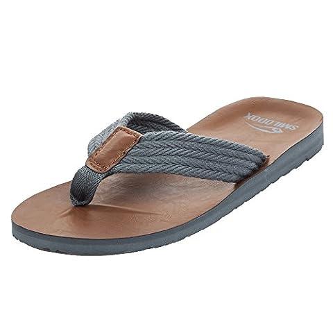 SMILODOX Premium Zehentrenner   Flip Flops ideal für Strandurlaub, Gym & Freizeit   Sandalen mit fester Sohle - Rutschfest - Perfekte Dämmung - Hausschuhe, Farbe:Anthrazit, Größe:40 EU