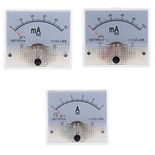 LOVIVER 3x0 100mA 50mA 0 5A DC Amperemeter Analog Panel Amp Meter Analog Current