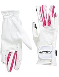 Chiba Reithandschuhe Lady Diamond - Guantes de hípica para mujer, color blanco / rosa, talla M
