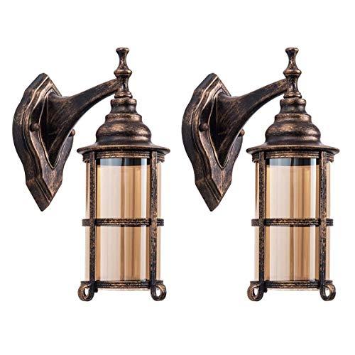 Zenghh Wasserdichte außenwandleuchte Europäischen stil, öl reiben bronze vor antiken wandlaternen industrie glas lampenschirm beleuchtung retro licht metall bauernhaus schlafzimmer veranda innenwandle -