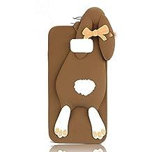 Sauve Samsung Galaxy S6 Edge Plus de 5,7 Pulgadas Funda Carcasa Silicona Caso TPU Soft Cáscara Dibujos Rabbit Animados Conejito Conjunto Divertida Arco Dulce Buck Dientes Conejo Protectora Suave Caja Cubierta Scraches de Dibujos Accesorios Shell Cubierta Protectora Teléfono Móvil -Sunroyal