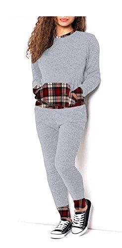 AHR.Ltd Signore Donne Nero E Grigio Motivo Scozzese 2 Pezzi Tuta Da Jogging Lounge Suit8-24 Grey-Tartan