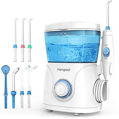 Munddusche Oral irrigator Homgeek Elektrische Munddusche Professionelle Zahnreinigung mit 10 Stufenlose Wasserdruckeinstellungen 600ml Wassertank 7 Funktionsdüsen Ideal für Ganze