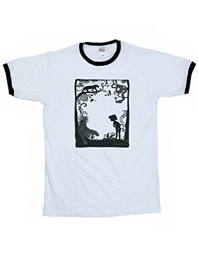 Disney Herren The Jungle Book Silhouette Poster Ringer T-Shirt Weiß Schwarz