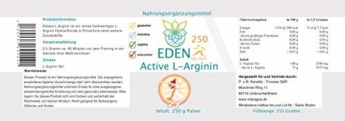 VITARAGNA Eden Active L-Arginin HCL Plus 250 Pulver Pur, vegan, Aminosäure mit optimaler Löslichkeit, hochdosiert