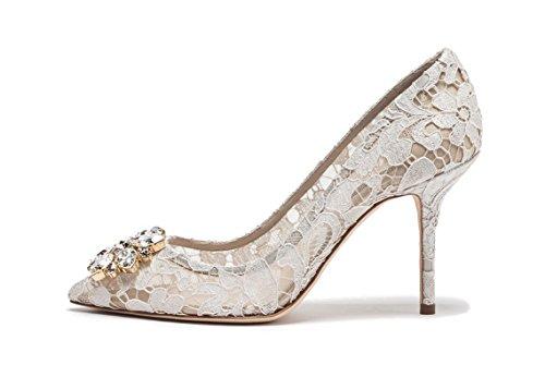 uBeauty Damen Stilettos Hell Spitzen Pumps Luxus High Heels Hochzeitsschuhe Spitze Zehen Slip-on Sandalen Weiß