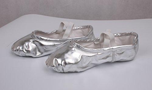 KRY  Leather Ballet Shoes,  Mädchen Unisex Erwachsene Damen Unisex Kinder Ballett Smooth Surface Silver
