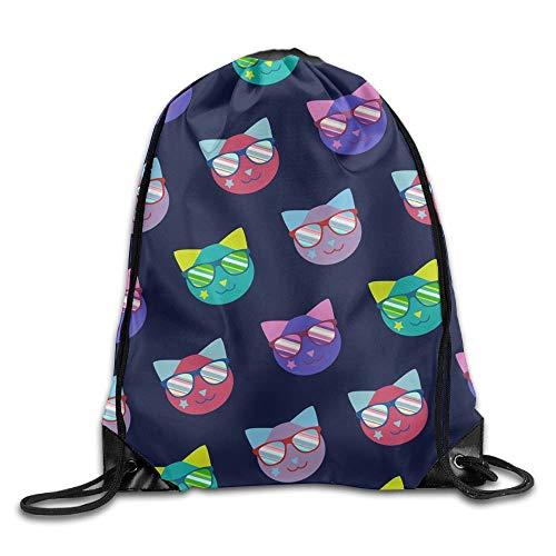 uykjuykj Tunnelzug Rucksäcke, Diving Monkey New Drawstring Backpack Workout Sackpack for Men Women School Travel Bag Sunglasses Star Cats Lightweight Unique 17x14 IN