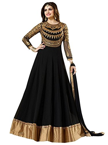 Prilora Traditional Black Color Embroidered Party Wear Georgette Anarkali Dress Material For Women - Unstitched Salwar Suit