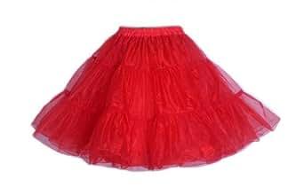 LuYan Women's 50s Vintage Rockabilly Net Swing Short Underskirt Size 8 Red