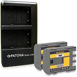 PATONA 2in1 Dual Chargeur + 2X Batterie NB-2L pour Canon PowerShot EOS 350D 400D / Rebel XTi/DC. MD. MV. avec Micro USB