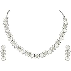 Atasi International Diamonds Delicate Silver Choker Necklace Set for Women