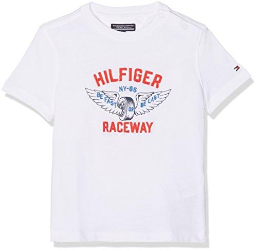 Tommy hilfiger raceway applique tee s/s, t-shirt bambino, bianco (bright white 123), 122 (taglia produttore: 7)