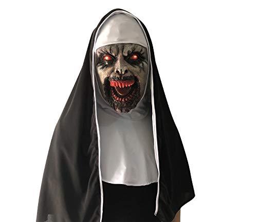 Geist Heilig Kostüm - XINLAI Neuheit LED Leuchtende Nonne Latex Maske Halloween Dreiteilige Maske Horror Angst Geist Gesicht Party Cosplay Maske