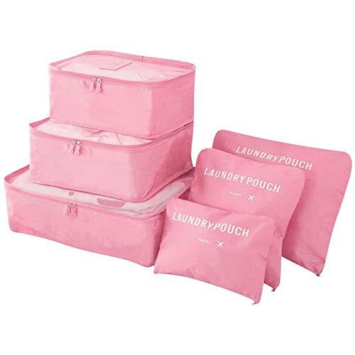 Vicloon Sistema di Cubo di Viaggio, Cubo Borse di stoccaggio, 6 pezzi Abbigliamento Intimo Abbigliamento Calzature Organizzatori Sacchi di Stoccaggio Set(Rosa)