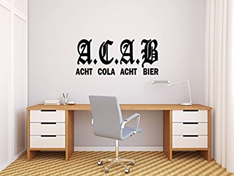 A.C.A.B - ACHT COLA ACHT BIER - Schwarz - ca. 35 x 15 cm