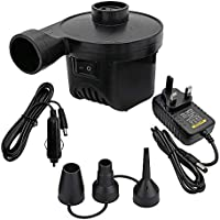 Likey Electric Air Pump, 2 in1 Inflates/Deflates,Power AC240V/DC12V, 3 in1 nozzle for Swimming Ring, Boats, Airbeds,Camping Air Mattress