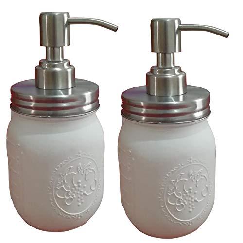 LaBella Classic Farmhouse Mason Jar Seifenspender - 473 ml lackiert mit normalem Mund Mason Glas mit Seifenlotionspender, Pumpdeckel - aus rostfreiem Edelstahl für Badezimmer Küche Dekoration (weiß) Vintage Blue Mason Jar