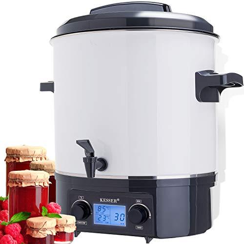 KESSER Einkochautomat 27 Liter Glühweinkocher Glühweinkessel mit Timer | 2000 Watt | Temperatur von 30-100°C | Zeituhr bis 120 Minuten und Dauerbetrieb | Abschaltautomatik Einkochvollautomat