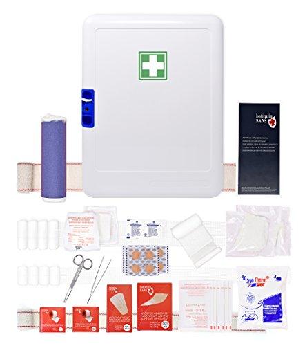 41Qz5TtcpHL - Botiquín Armario de primeros auxilios para pared - con 95 artículos indispensables para realizar curas de emergencia, blanco