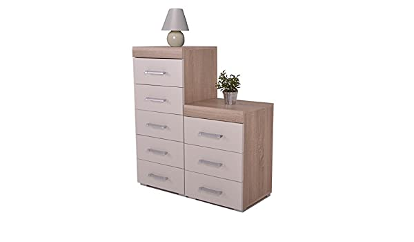 Dp White Oak 5 Drawer Tall Boy Chest 3 Draw Bedside Bedroom
