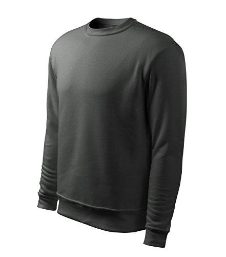 Sweatshirt mit Rundhalsausschnitt Herren oder Boyfriend Look Damen 65% Baumwolle Rundhals langarm Stretch m. 5% Elasthan - Doppelnaht Charcoal