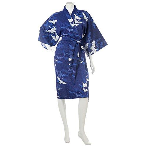 japanische marineblaue Kranich Baumwoll Kimono kurze Robe (Authentische Japanische Kimono)