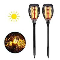 Solar Garden Torch Lights, LTPAG 96 Led Tiki Torch Flickering Dancing Flames Light Outdoor Solar Lights - for Garden, Patio, Courtyard, Landscape, Wall, Path, Decorations