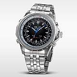 Fenkoo Herren Armbanduhr Japanischer Quartz LED / Kalender / Chronograph / Wasserdicht / Duale Zeitzonen / Alarm Edelstahl Band Silber Marke-