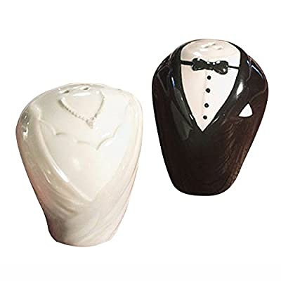 Ceramic TUXEDO and DRESS Salt and Pepper Shakers Set Wedding Party Favors- White and Black