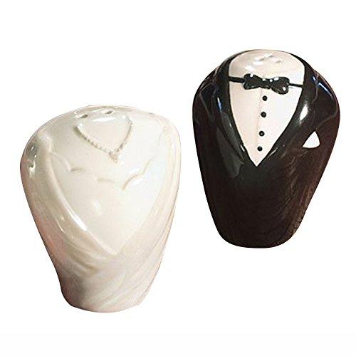Hochzeits Kleid und Smoking Keramik Salz und Pfefferstreuer Set Hochzeit Patry Gastgeschenke-Weiß und Schwarz