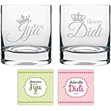 YaYa cafe Couple Whiskey Glasses, Coasters (325 ml, Clear) -Set of 4