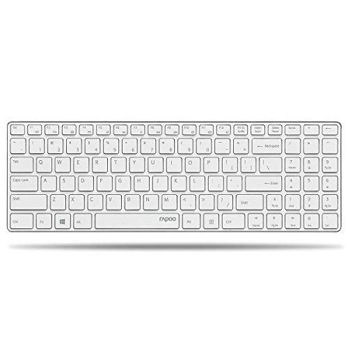 Aluminium-wireless-tastatur (Rapoo E9110 ultraschlanke kabellose Aluminium Tastatur (2,4 GHz Wireless, 4,9 mm dünn, Multimedia, Nano-USB, Full-Size Tasten, für Apple, MAC, QWERTZ deutsches Layout) weiß)
