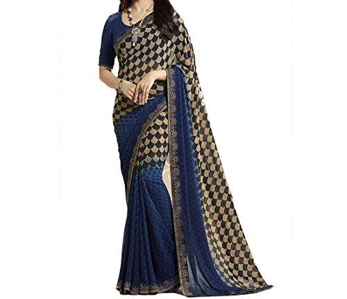 Ruchika Fashion Georgette Saree With Blouse Piece(Isha- Royal Blue_Royal Blue Free Size)