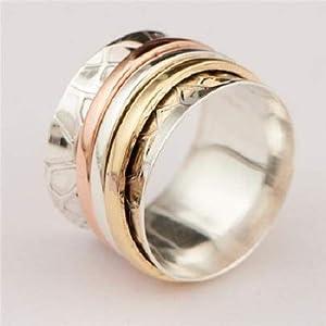 925 Sterling Silber Spinner Ring Set mit Messing- und Kupfer-Elementen – Spinnring – Meditationsring – Anti-Stress-Ring…