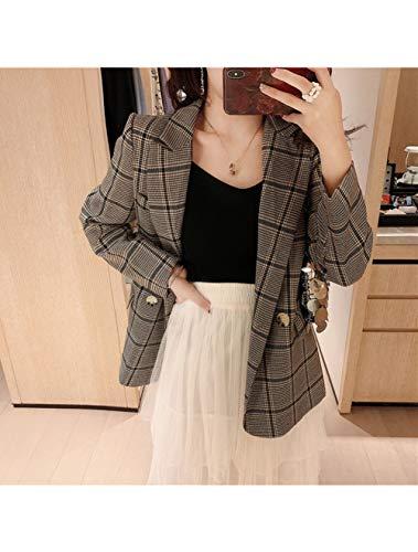 ZHUANG Anzug Jacke Vintage Double Breasted Plaid Frauen Blazer Gekerbt Volle Ärmel Weibliche Jacke Lässige Arbeitskleidung Femininas, Bildfarbe, OneSize -