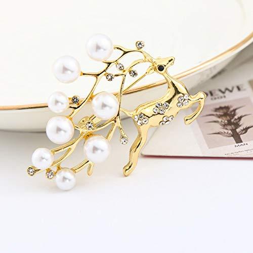 Hirsch Brosche Mode Sikawild Perle Brosche mit Zubehör Pin Pullover Mantel Schal Schnalle Kleidung, k Gold
