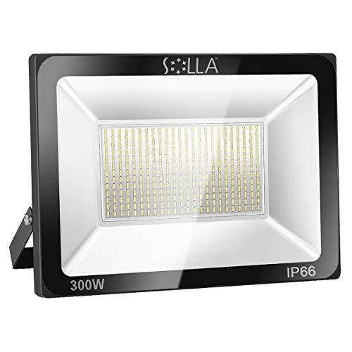 SOLLA 300W LED Flutlicht Outdoor-Sicherheitsleuchte, 1600W Äquiv, 6000K Tageslichtweiß, 24000LM, Wasserdicht IP66, Außenwandleuchte, 24 Monate Garantie -