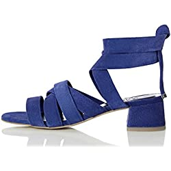 FIND Molly, Sandalias de Punta Descubierta para Mujer, Azul (Blue), 38 EU
