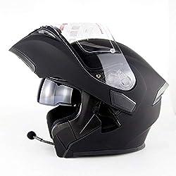Casque De Moto Avec Casque Bluetooth Intégré Au Visage Intégral Casque De Moto Certifié D.O.T Double Visière Anti-brouillard Rabattable À L'avant Casque Safty (noir) (Size : XL)
