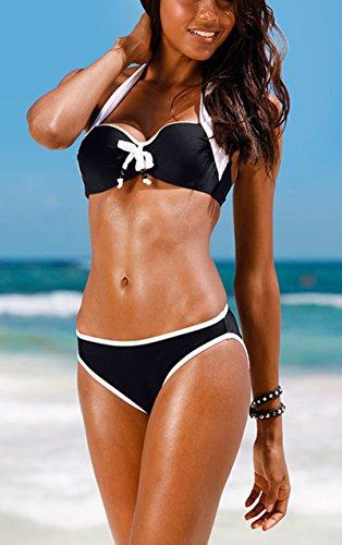 Aidonger Damen Bikini Sets mit Schleife Süß Push Up Bademode Gr.S-L Schwarz