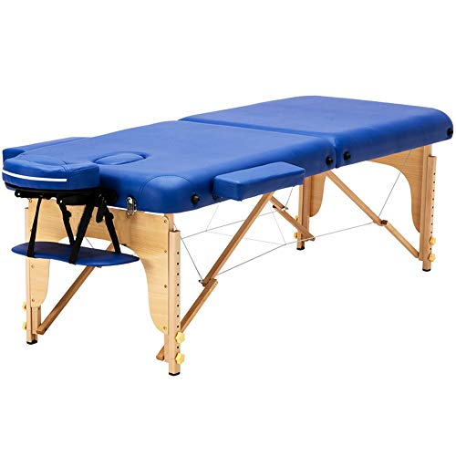 Massagetisch Tragbarer Massagetisch Folding Gesicht SPA Bett Tattoo Beauty Therapy Couch-Bett mit Tragetasche aus Holz 2 Abschnitt Für Tattoo Beauty Salon (Color : Blue, Size : 186x71cm)