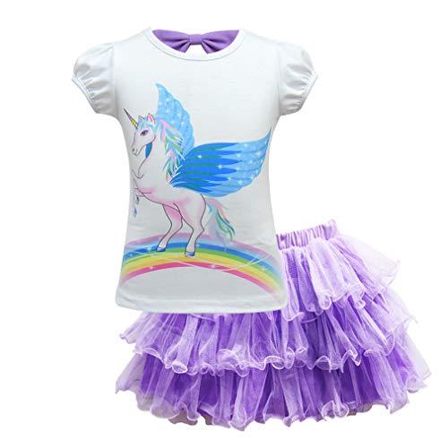 mama stadt 2 Stück Kleid Mädchen Einhorn Tulle Tutu Party Geburtstag Prinzessin ()