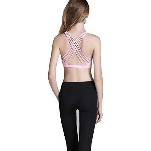 Keysui Le nuove donne Reggiseno imbottito Top Athletic Vest Palestra Fitness Sport Yoga Stretch Rosa