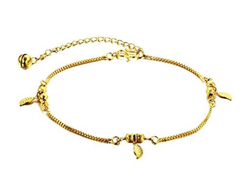 Beydodo 18K Vergoldet fußkettenfürFrauen (fußkettenChain) Form der Blatte Strand Erweiterbar Kette 19CM,Gold