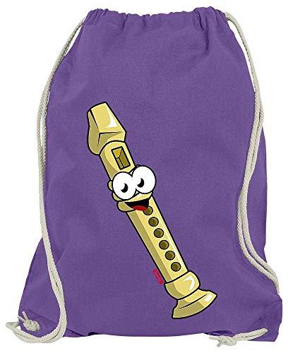 HARIZ Turnbeutel Flöte Lachend Instrument Kind Lustig Plus Geschenkkarte Lila One Size